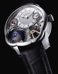 GREUBEL FORSEY. A VERY FINE, IMPRESSIVE AND VERY RARE 18K WHITE GOLD 25° INCLINED 24 SECONDS TOURBILLON DUAL TIME ZONE WORLD TIME ASYMMETRICAL WRISTWATCH WITH POWER RESERVE AND 3D GLOBE